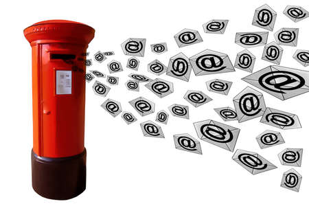 3D E-Mail Red Post Box with Flying Envelope Messages photo