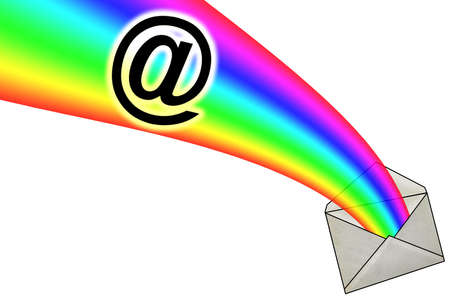 3D E-Mail Sign in Rainbow from Envelope Stock Photo - 13285543