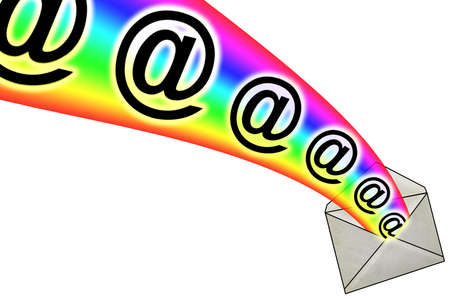 3D E-Mail Signs in Rainbow from Envelope photo