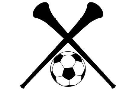 Illustration Vuvuzela Horn and Soccer Ball Silhouette Isolation Stock Vector - 13397528