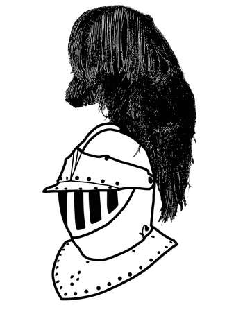 Isolated Full Face 16th Century War Helmet with Plumage Vector Vector
