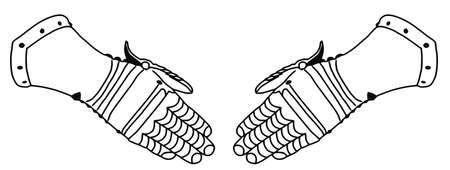 16th: Isolated 16th Century War Iron Gloves  Illustration