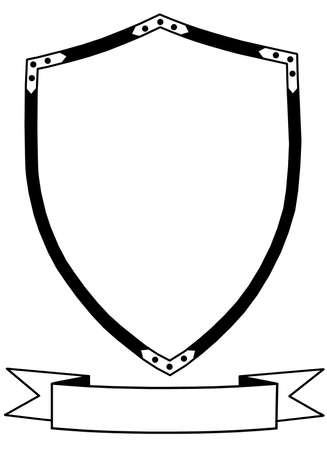 Isolated 16th Century Ceremonial or War Shield  with Banner