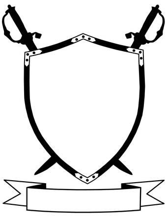 crossed swords: Aislado siglo 16 Escudo guerra con espadas cruzadas y la bandera Vectores