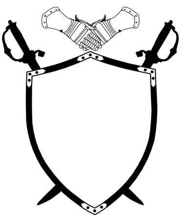 Isolated 16th Century War Shield with Crossed Swords and Gloves Vector Vector