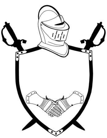 Geïsoleerd 16e CenturyWar Shield Swords helm en handschoenen Vector Vector Illustratie