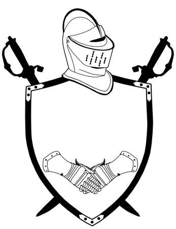 seventeenth: Isolated 16th CenturyWar Shield Swords Helmet and Gloves Vector Illustration