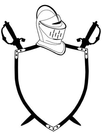Geïsoleerde 16e CenturyWar Shield Zwaarden en helm Vector