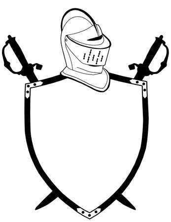 mid century: Isolated 16th CenturyWar Shield Swords and Helmet Vector Illustration
