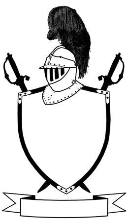 16th: Isolated 16th Century War Shield Swords Banner and Plumaged Helmet  Illustration