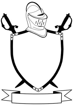 mid century: Isolated 16th Century War Shield Swords Banner and Helmet  Illustration