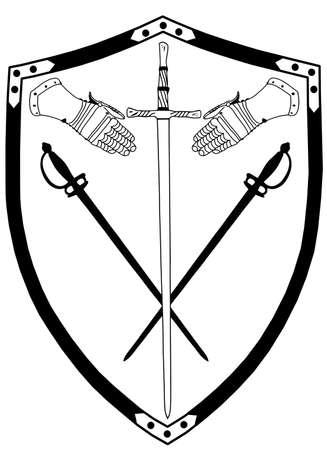crossed swords: Alejado del siglo 16 la Segunda Guerra Escudo con Ingraved pr�ncipe y el mendigo y Vector Guantes
