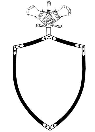 owning: Isolated 16th Century War Shield with Sword and Gloves Illustration