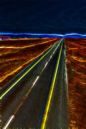 rural area: Abstarct Straight Open Freeway Running Through Rural Area