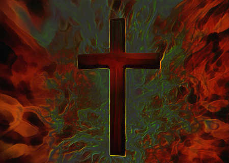 3D Ilustraci�n Fiery cruz cristiana sobre lienzo photo