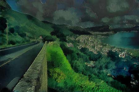 3D Seaside Mountain Road and Stone Cliff Illustration Stock Illustration - 14266142