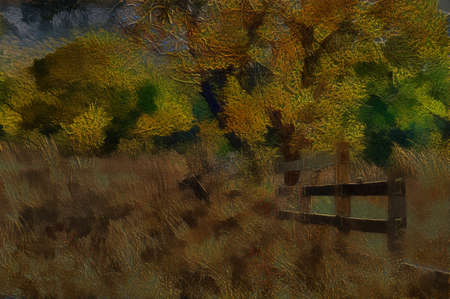 deteriorated: Unique 3D Illustartion of Old Wooden Farm Fence in Long Yellow Winter Grass Stock Photo