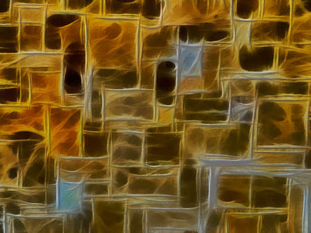 Unique 3D Golden and Brown Stone Stone Wall Illustrated Background Stock Photo - 14457058