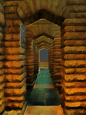archway: 3D Fantasy Illustration of a Stone Archway