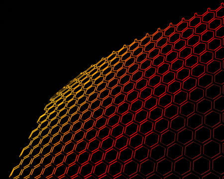prison break: 3D Isolated Bent Open Wire Mesh Red to Gold