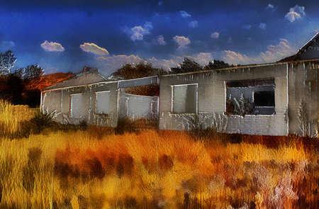 Unique 3D Farmhouse Ruins Painting on Canvas Stock Photo