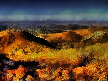 Unique 3D Mountain Top View Nature Painting on Canvas Stock Photo - 14674808