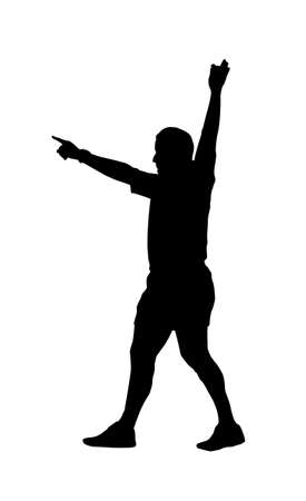infringement: Sport Silhouette - Rugby Football Referee Holding Hand Up Indicating Foal Play