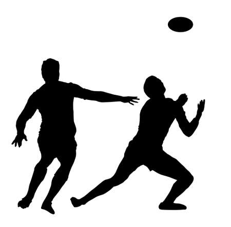 awaiting: Silueta Deporte - Jugador de Rugby espera de High Ball Vectores