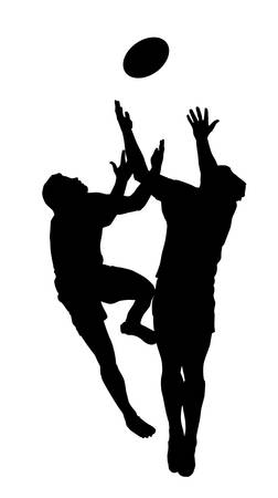 Sport Silhouette - Rugby Football Players Jumping to Catch High Ball Vector