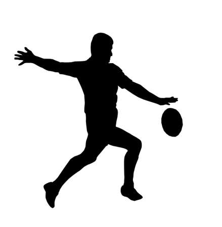 rugby ball: Sport Silhouette - Rugby Football Player Maring Running Kicking For Touch