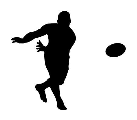 Sport Silhouette - Rugby Football Scrumhalf Fast Backline Pass Stock Vector - 14854625