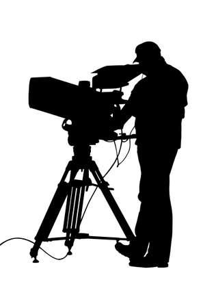journalistic: Silhouette di fotocamera TV e isolamento Operator Vettoriali