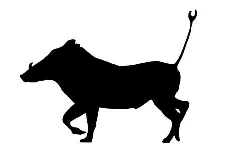 Isolated Silhouette Warthog Running with Tail in Air Vector