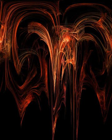 Abstract Fractal Art Fire Fountain Concept on Black Background  Stock Photo - 15083554