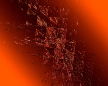 Abstract Fractal Art Red Square Scattering on Orange Background Stock Photo - 15153451