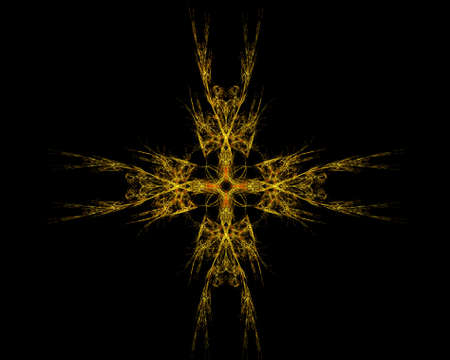 Abstract Fractal Art Rainbow Golden Star on Black Background  Stock Photo - 15499519