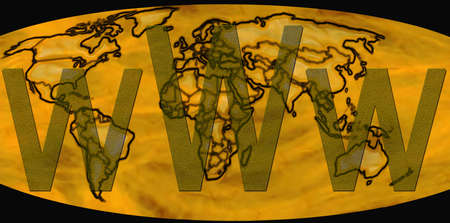 Textured Transparent Letters World Wide Web on Golden Word Map photo