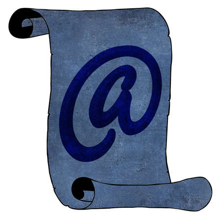 opposites: Symbolism Modern Email Symbol on Blue Old Paper Scroll Opposites Stock Photo