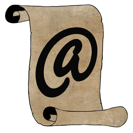 Symbolism Modern Email Symbol on Old Paper Scroll Opposites Stock Photo - 15663826
