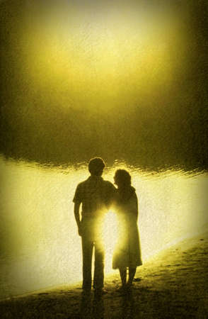 Retro Image of Loving Couple in Golden Sun Reflection photo