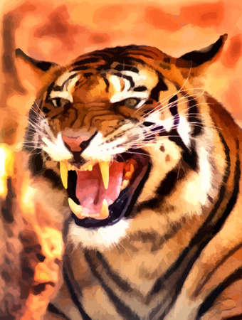 pms: Picture of a Very Angry Growling Tiger Portrait Vector