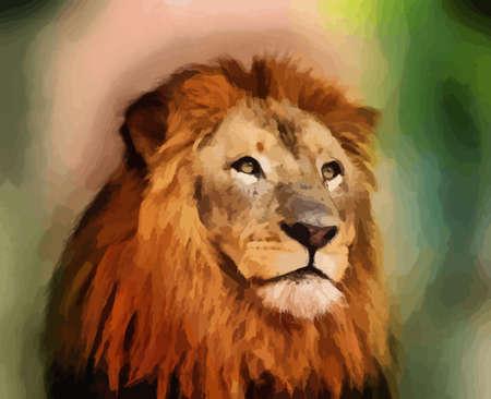 intense: Royal King Lion con Vector Majestic Ritratto Viso Vettoriali