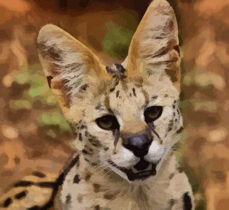 Portrait Vector of Serval African Wild Cat