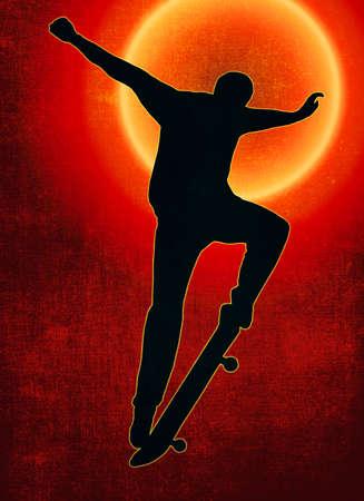Grunge Sunset Back Skateboarding Skater do Nosegrind with Board Silhouette Stock Photo - 16417655