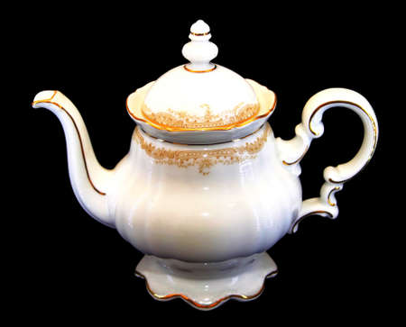 teaset: Isolated Expensive Porcelain Teaset - Tea Pot with Golden Brim