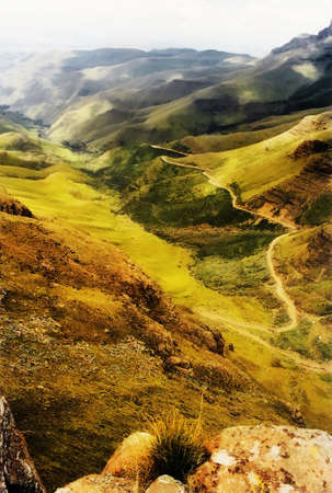 lesotho: Painting of Sani Pass in the Drakensberg Mountains to Lesotho