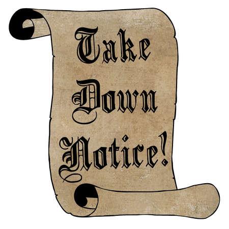 Black Take Down Notice on Vintage Paper Scroll