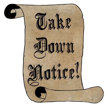 Black Take Down Notice on Vintage Paper Scroll Stock Photo - 17007997