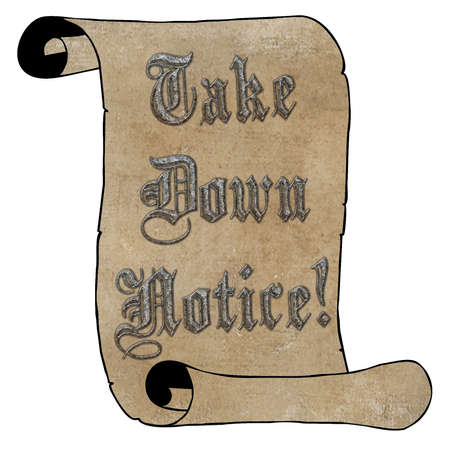 take down notice: 3D Silver Type Take Down Notice on Vintage Paper Scroll