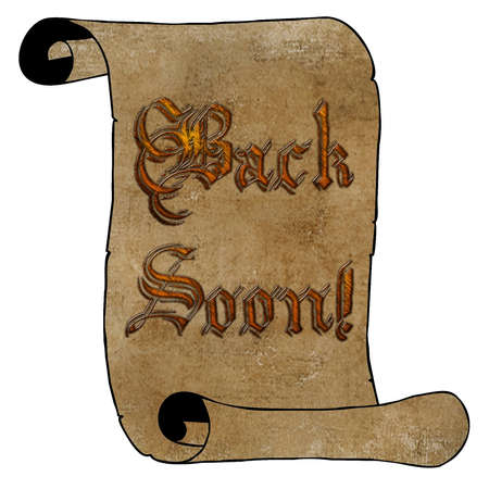 3D Wooden Type Back Soon Notice on Vintage Paper Scroll Stock Photo - 17008035